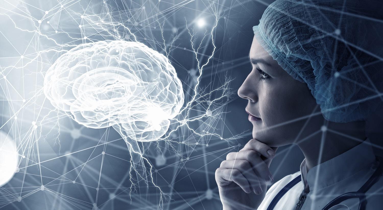 Woman looking at brain image